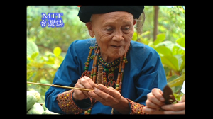 A Paiwan chieftain wearing traditional clothing (screenshot from the TV show 'Made in Taiwan')