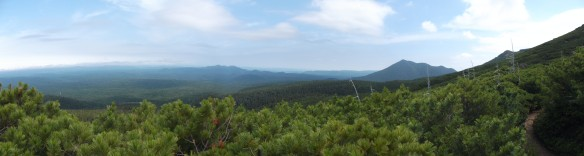 We see a wide view with blue sky and clouds above, a green hill to the right, rolling forests below, and brush pine forest near the viewer at the bottom of the photo.