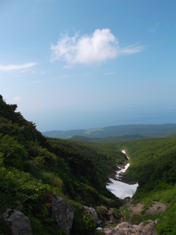 Above, we see a clear blue sky with a single cloud.  In the lower half, we see a flat coastal area in the distance (with magnification we can see a few lakes), and then there is green mountain descending straight ahead towards the coast, with a line of snow going forward in a crack in the mountain.