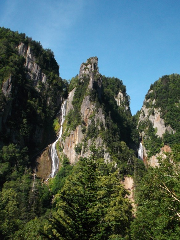 Above is a clear blue sky.  Below we see basalt cliff on the right and left, with one bit of basalt cliff rising in the center like a tooth.  The cliffs are mostly brown but are partially covered by pine trees.  In the gaps between the cliffs there are waterfalls.  The left waterfall is a long white ribbon which spreads out and then narrows.  The right waterfall is barely visible because it is blocked by pine trees, but it looks very full.