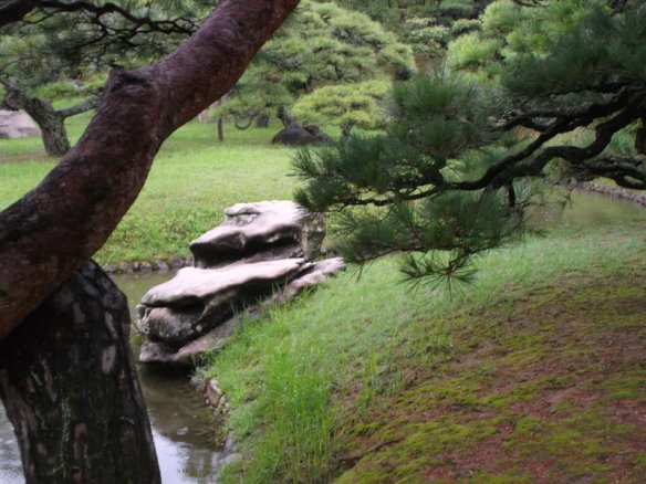 In the background there is a set of pine trees, with a grassy field below.  In the foreground is a whitish rock with an unusual shape, with a stream right below it, and on the upper right is a pine tree branch.