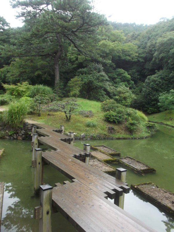 This picture shows a white sky above, a set of green trees, and a wooden bridge over green pond water where the planks are set up to go forward, to the right, forward, right, forward, right, until it reaches the green bank on the far side