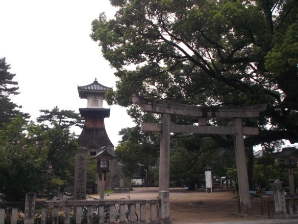 This is a Shinto shrine, with a tori gate, a very tall lantern in the distance, and a towering green tree
