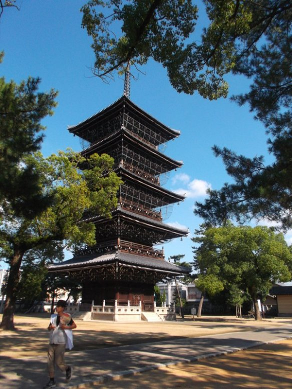 The photo shows a five-level wooden pagoda, with a bright blue sky behind it, and treen branches in the foreground on the upper-right side and center-left side of the photo.