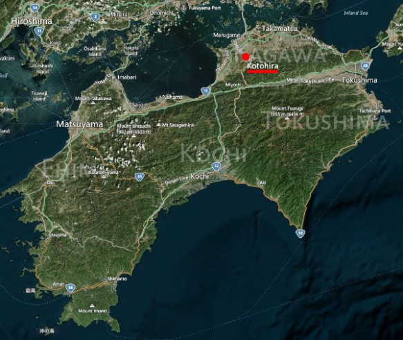 The map shows that Kotohira is in northeastern Shikoku, a bit inland, and west of Takamatsu