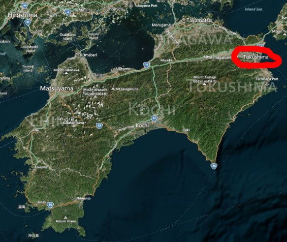 The map shows that Tokushima city is in northeastern Shikoku