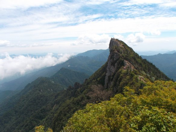 The sharp point of Tengu-dake, 1982 meters above sea level, the highest point in all of western Japan