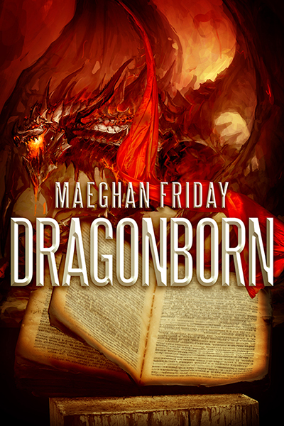 This is the cover of Dragonborn by Maeghan Friday, which shows a red dragon on top of an aged book