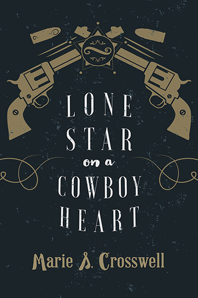 The cover of Lone Star on a Cowboy Heart, which shows two handguns pointed at each other against a dark blue background.