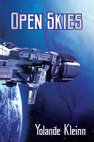 The cover of Open Skies, which shows a spaceship going past a blue planet into a blue nebula