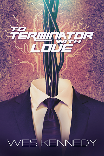 The cover of To Terminator with Love, which shows a bunch of metal coils rising up from the nape of a suit.