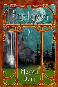 The cover of The Painted Crown by Megan Derr whichshows a waterfall under a full moon.