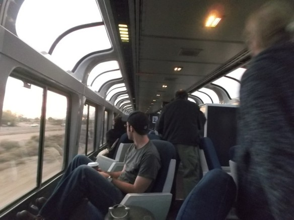 The sightseeing lounge on the Sunset Limited train