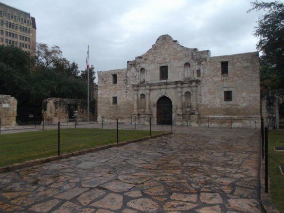 The front of the Alamo church.