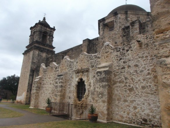 "The most famous architectural feature of Mission San Jose is the ""Rose Window"" which can be seen in this photo."