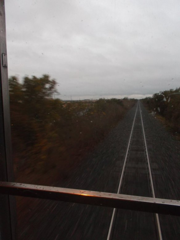 This is the view from the back of the last car in the train.