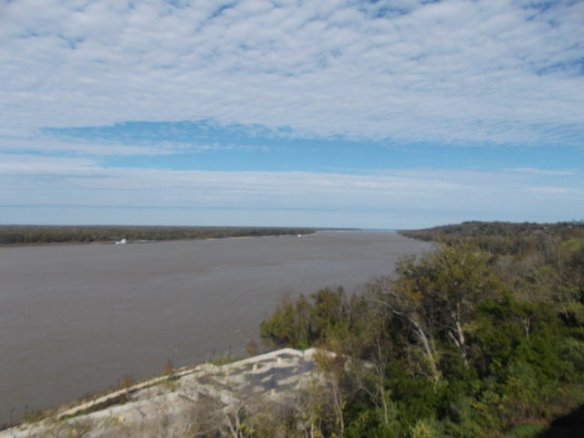 Looking at the Mississippi River from the Natchez bluff.