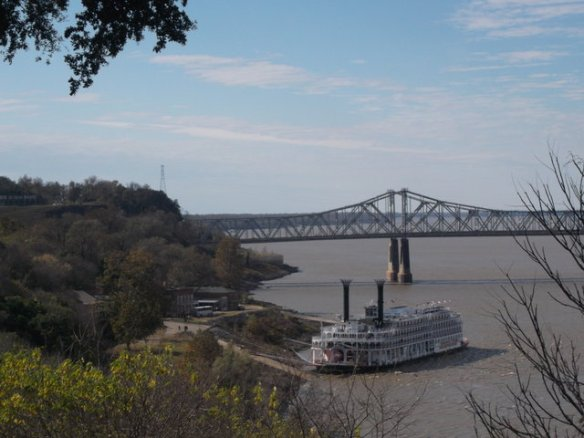 The buildings in this picture is Natchez-under-the-hill. The steamboat is the American Queen - and yes, it's a really steamboat, the engine is over a hundred years old. The bridge connects Natchez to Vidalia, Louisiana.