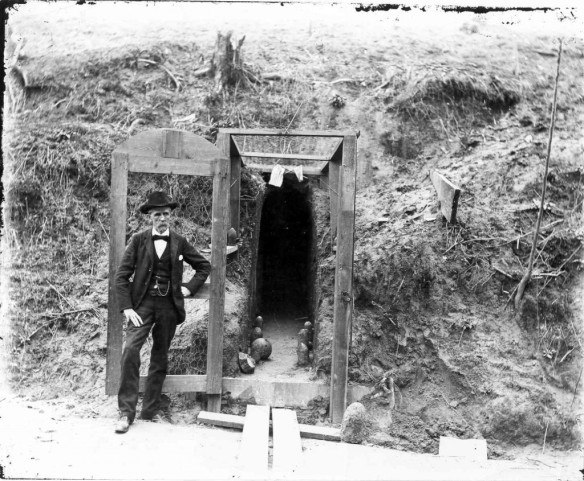 The entrance to a cave shelter during the Siege of Vicksburg