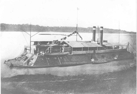 This is the USS Cincinnati, a Union ship which sunk during the Siege of Vicksburg.