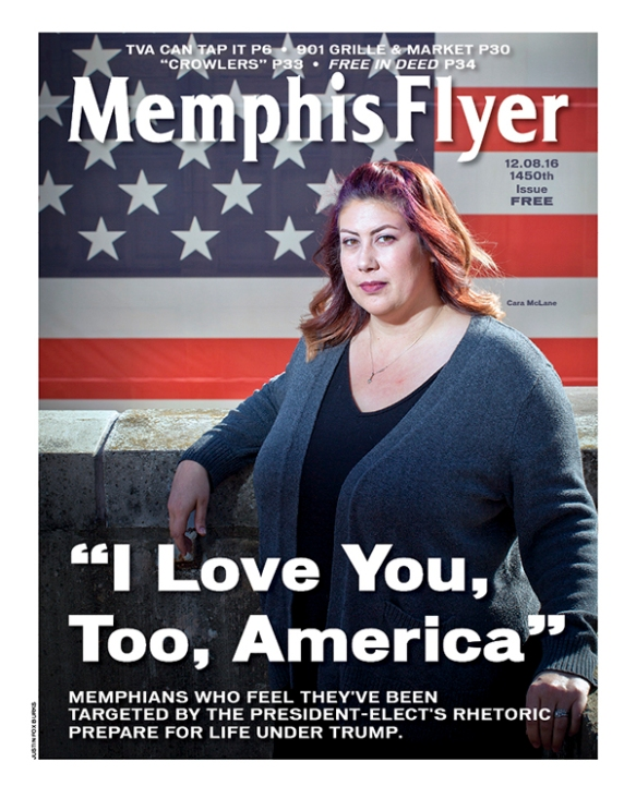 "The cover of the Memphis Flyer, with the cover story ""I Love You, Too, America - Memphians who feel targeted by the rhetoric of the president-elect prepare for life under Trump"""