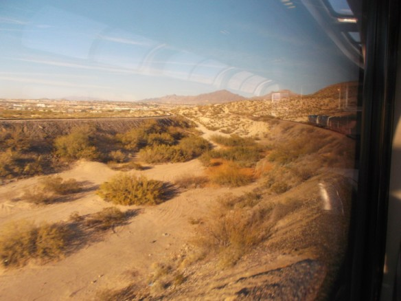 The train has to curve around cliffs to get into the Rio Grande Valley.