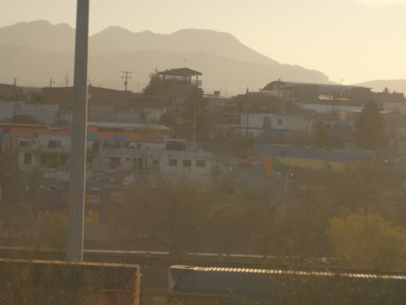 This is Ciudad Juarez, Mexico. At the bottom of the picture, you can see part of the fence which marks the border between the U.S.A and Mexico.