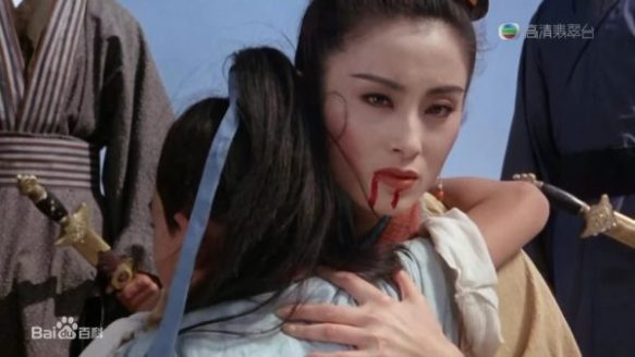 A dying woman holds her 9-year-old son in the 1993 adaptation of The Heaven Sword and Dragon Saber. Even though I haven't seen any of the TV adaptations, when I see clips, I can often identify which scenes are being shown just from my recollection of the original novel.