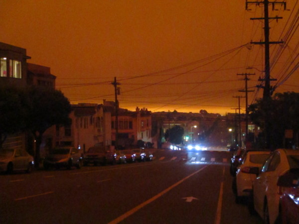 The sky is totally dark and orange